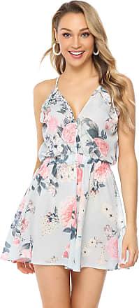 Abollria Playsuits for Women Elegant Floral Print V-Neck Sleeveless Strap Casual Short Romper Jumpsuit Blue