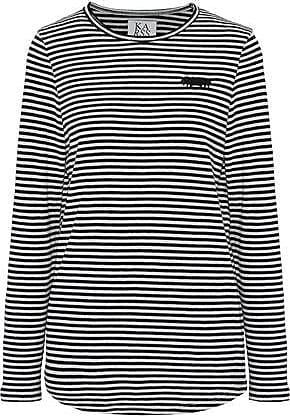 Zoe Karssen Zoe Karssen Woman Embroidered Striped Cotton-blend Jersey Top Black Size XS
