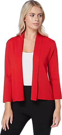 Roman Originals Women Knitted Bolero Shrug Jacket - Ladies Cropped 3/4 Length Sleeve Special Occasion Summer Smart Formal Casual Cover Up Cardigan Blazer - Red - Size