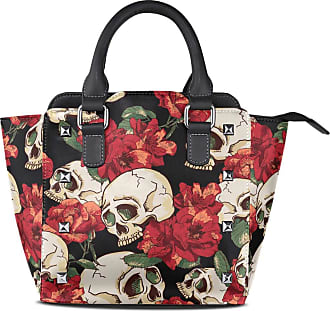 NaiiaN Leather Skull Red Flowers Seamless Pattern Handbags Purse Shopping Tote Bag Light Weight Strap Birds Shoulder Bags for Women Girls Ladies Student
