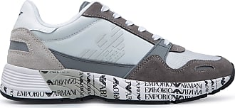 Emporio Armani Mens Leather Sneakers Anthracite Color - X4X292XM241P960 Grey Size: 10.5 UK