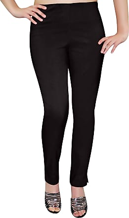 Eyecatch Eye Catch - Ladies Pull On Straight Smooth Super Stretch Elasticated Trousers Womens Pants Black Size 24
