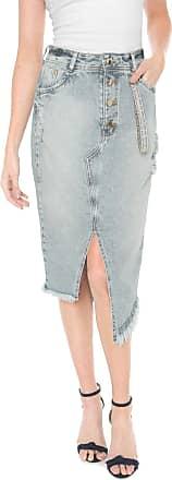 Dimy Saia Jeans dimy Midi Destroyed Azul