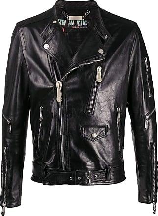 Philipp Plein Fashion Man S20CMLB1087PLE010N02 Black Leather Outerwear Jacket | Spring Summer 20