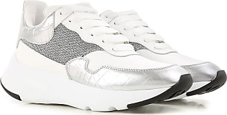 Alexander McQueen Sneakers for Women On Sale in Outlet, Silver, Leather, 2017, 8
