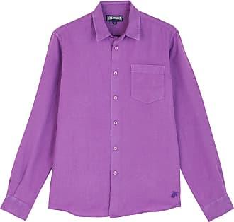 Vilebrequin Men Linen Shirt Solid - Orchid - XXL