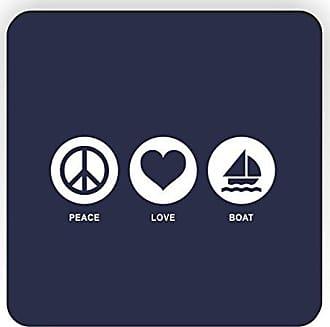 Rikki Knight Rikki Knight Peace Love Boat Design Square Fridge Magnet, Blue