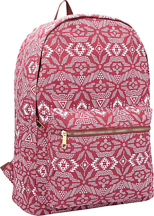 Quenchy London Ladies Backpack, Girls Casual Daypack Bag for School, Work or Hand Luggage Travel 20 Litre Size 39cm x32 x16 QL7164R (Red Geometric)