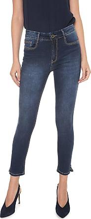 Enna Calça Jeans Enna Skinny Cropped Pespontos Azul