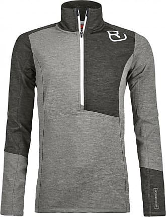 Ortovox Fleece Light Zip Neck Merinopullover für Damen | grau/schwarz