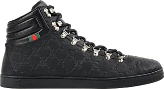 525e23c70cd Gucci guccissima Black Leather Monogram Lace Up High Top Sneakers