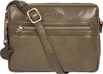Pure Luxuries London Conkca London Drew Womens 22cm Biodegradable Leather Cross Body Bag with Zip Over Top, 100% Cotton Lining and Adjustable Slimline Leather Strap in Oli