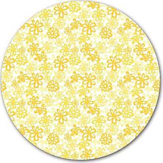 KESS InHouse JH1009AKP02 Julie Hamilton Paper Daisy Yellow Art Clings 12-Inch Circle Sticker Wallpaper Decal