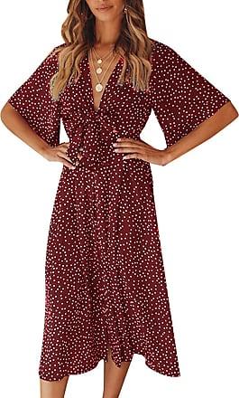 Yidarton Womens Summer Polka Dot Dress Vintage Boho Short Sleeve Midi Dress Beach Dresses Sexy V-Neck Front Crossover Bow Tie Dress (2XL, A-Red)