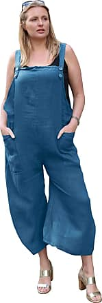 Love my Fashions Womens Button Detail Jumpsuit Ladies Plain Linen Casual Sleeveless Loose Fit Two Front Pockets Dungaree Trouser Summer Plus Size Denim Blue