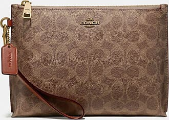 Coach Charlie Pouch In Colorblock Signature Canvas in Beige/Brown