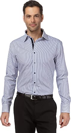Vincenzo Boretti Mens Shirt Regular-fit Kent Collar Classic Design Contrasting Striped Design 100% Cotton Non-Iron Designer Shirts for Men Formal Office Wedding Ideal