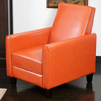 BEST SELLING HOME Darvis Leather Push Back Recliner Orange - 252422