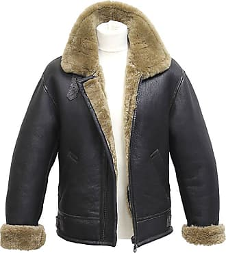 Infinity Mens Brown Vintage Air Force Aviator Real Thick Shearling Sheepskin Flying Leather Jacket with Ginger Fur Comfort Fit (3XL)