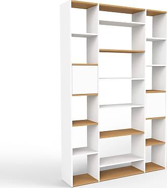 MYCS Bücherregal Weiß - Modernes Regal für Bücher: Türen in Weiß - 154 x 233 x 35 cm, Individuell konfigurierbar