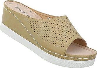 Schuhcity24 Damen Schuhe Sandaletten Keilabsatz Wedges Plateau Pantoletten  Pumps Beige 37 8c66b47f04