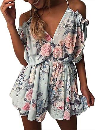 Yidarton Womens Sleeveless Off Shoulder Playsuit Strap Floral Mini Summer Jumpsuits