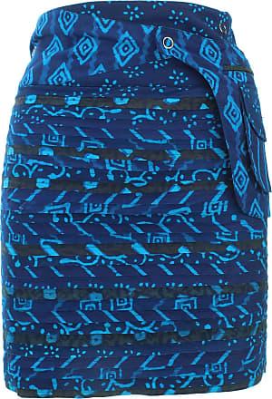 Loud Elephant Reversible Popper Wrap Knee Length Skirt - Indigo Patch Strips/Indigo Stripe