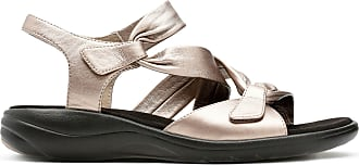 Clarks Womens Sandal Pewter Leather Clarks Saylie Moon Size 5.5