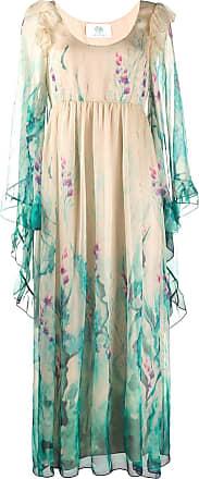Alberta Ferretti floral print ruffled trim gown - NEUTRALS