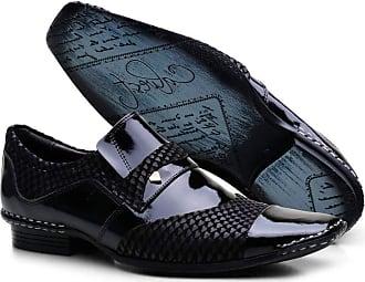 Calvest Sapato Social Calvest em Couro Preto com Textura Diamante com Detalhes Verniz Preto - 1750C588-44