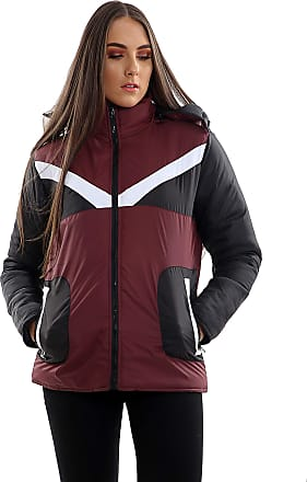 Parsa Fashions Womens Contrast Fancy Quilted Padded Puffer Warm Thick Zipper Jacket Ladies Winter Coat (XL, Wine - Black)