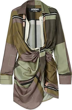 Jacquemus Bahia Draped Printed Silk-satin Mini Dress - Army green