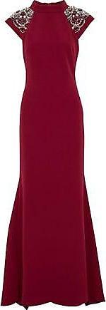 Badgley Mischka Badgley Mischka Woman Embellished Crepe Gown Claret Size 10