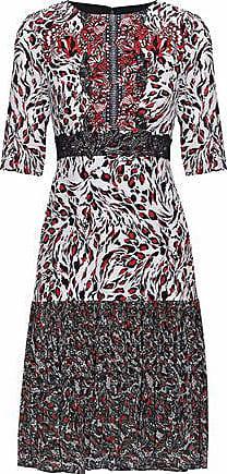 Saloni Saloni Woman Vera Printed Silk Crepe De Chine And Pleated Chiffon Dress Red Size 4