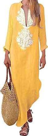 TOMWELL Women Boho Dress Casual Irregular Maxi Dresses Vintage Loose Long Sleeve Cotton Viscose Dress Yellow UK 6