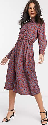 People Tree Robe mi-longue à imprimé cachemire-Rouge