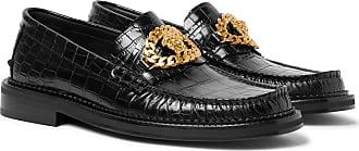 Versace Embellished Croc-effect Leather Loafers - Black