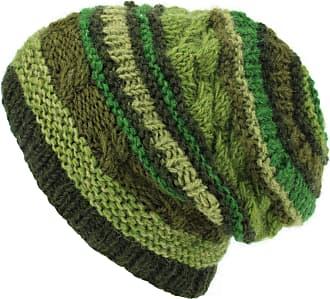 Loud Elephant Wool Knit Beanie Hat - Stripe Green