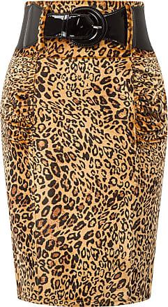 Belle Poque Women Classy 50s Printed Elegant Formal Work Wear Pencil Skirt Leopard 947-1 Small