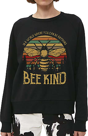 Dresswel YNALIY Women Bee Kind Sweatshirts Vintage Bee Graphic Print Long Sleeve Tops Pullover Blouse Shirt Black