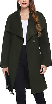 iClosam Womens Trench Coat Belted Thin Jacket Trench Pea Coat Overcoat Outwear Ladies Waterfall Long Sleeves Cardigan (Thick- Green, XL)