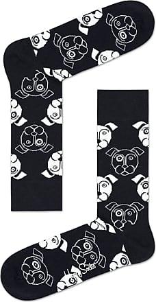 Happy Socks Colourful Fun Print Cotton Socks for Men and Women, Black & White Dog (41-46)