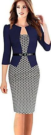 8ffc2cc3d95b62 Minetom Damen Hahnentritt Elegant Kleider Business Kleider Abendkleid  Etuikleid Casual Knielang Party Dress mit Gürtel Marine