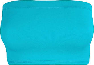 Janisramone Womens Ladies New Plain Boob Tube Strapless Bandeau Stretch Soft Elastic Vest Bra Crop Top Turquoise