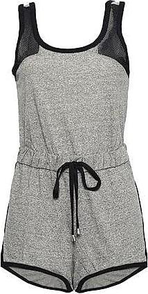 Cosabella Cosabella Woman Portofino Mesh-paneled Mélange Cotton-blend Jersey Playsuit Dark Gray Size S