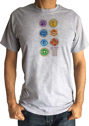 Irony Mens T-Shirt Om Yoga Chakra Symbols Meanings Meditation India Zen-Print TS1845 Grey