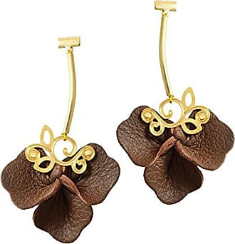 Tinna Jewelry Brinco Dourado Floral (Marrom)