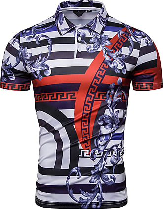 Whatlees Mens Short Sleeve Baroque Printing Zebra Stripe Polo Shirts Navy Top Tees 02010184XNavy+M