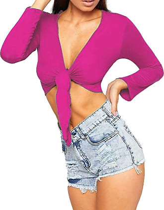 Re Tech UK Womens Ladies Plain Tie Knot Front Open Cropped Long Sleeve Bolero Shrug Jacket (UK M/L 12-14, Hot Pink)