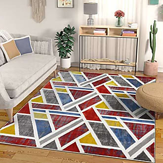 Well Woven Spirit Multi Red Blue & Yellow Modern Geometric High-Low Pile Area Rug 8x10 (710 x 910) Abstract Triangle Boxes Carpet